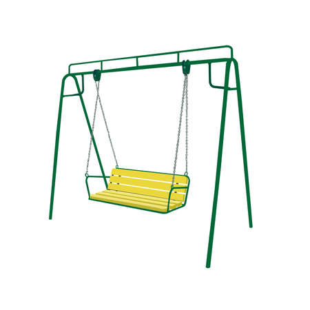 oscillate: Baby green swing illustration isolated on white background Illustration