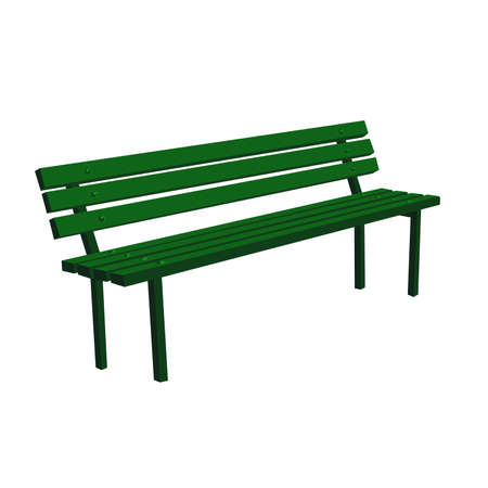 Wooden detailed green bench vector illustration isolated on white background