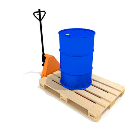Blue barrel, euro pallette and orange manual hand hydraulic pallet truck, isolated on white backgroundIndustrial Imagens