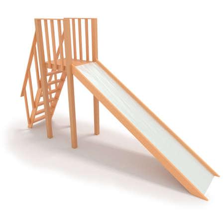 chain swing ride: Childrens wood slide 3D render illustration isolated on white background