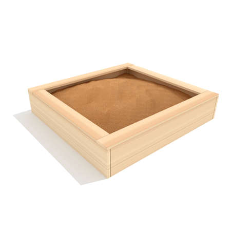 Baby wooden sandbox 3d render illustration isolated on white background