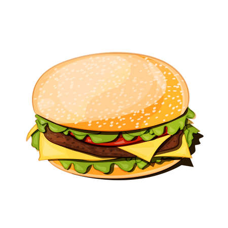 front view of a hamburger vector illustration on white background