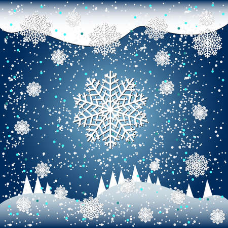 Falling snow vector illustration for winter design on blue background