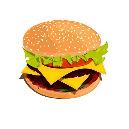 sesame: Bigburger color vector illustration on white background