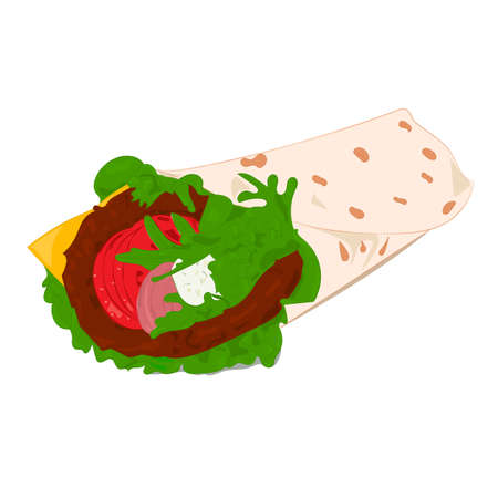 Beef roll color vector illustration on white background