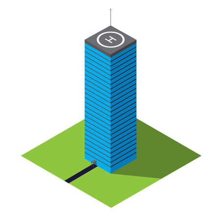 Skyscraper vector isometric illustration of isolated on a white background