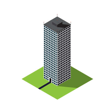 Old skyscraper vector isometric illustration of isolated on a white background Ilustração