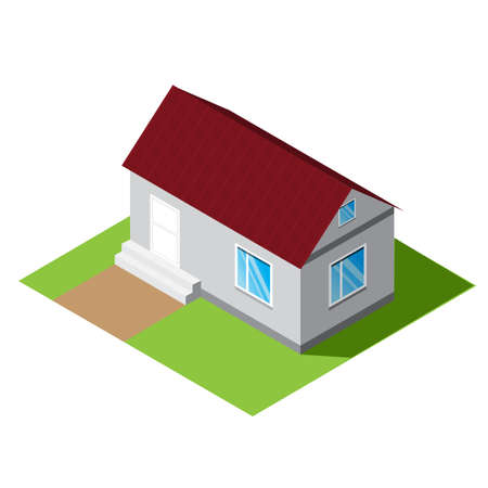 Small home vector isometric illustration of isolated on a white background