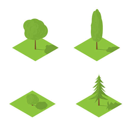 Trees set vector isometric illustration of isolated on a white background