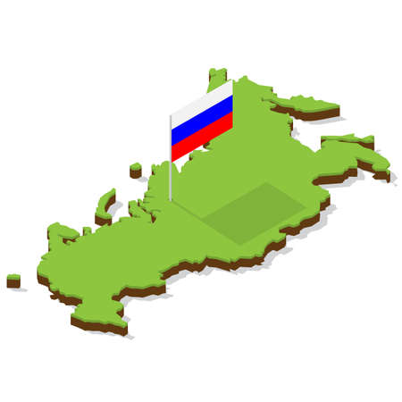 russia map with flag isometric vector illustration