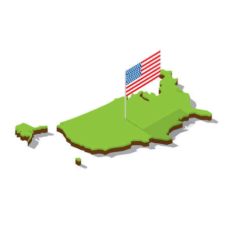 usa map with flag isometric vector illustration