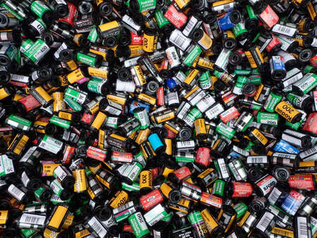 Old used and empty colorful film cartridges