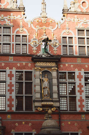 armory: Details of the facade of the Great Armory in Gdansk Stock Photo