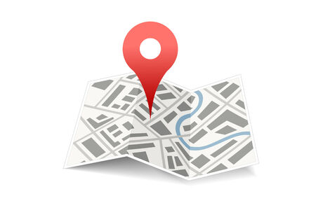 map with red pin isolated Vector
