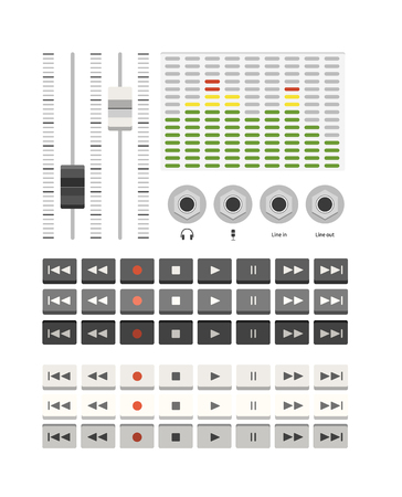 eq: musical ui set with buttons and eq Illustration