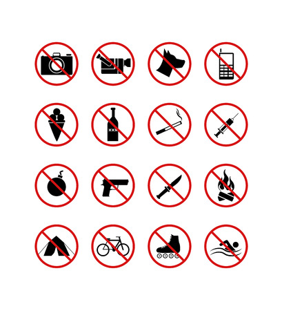 prohibiting: 16 prohibiting signs icons Illustration