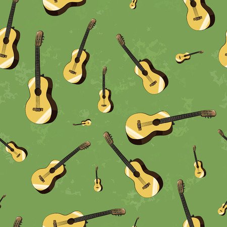 acoustic guitars on grunge background seamless pattern Vector