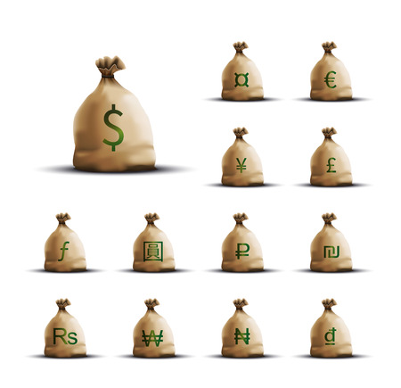 Money Bags with currency symbols Illustration