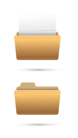 realistic icon folder with document Vector