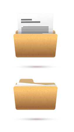 realistic icon folder with text document isolated Vector