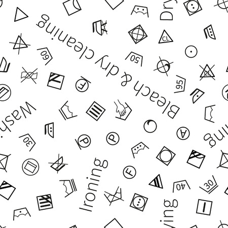 laundering: Laundry symbols isolated on white background seamless pattern Illustration