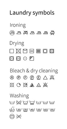 cleaning cloth: Laundry symbols. Isolated icons.