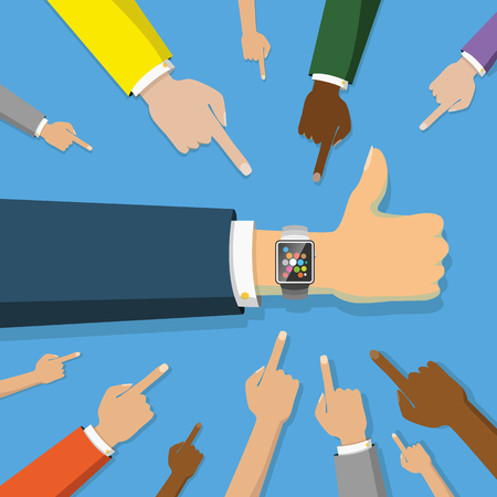 many hands point to smart watch on blue Stock Illustratie