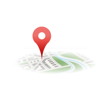 map with red pin in perspective icon isolated