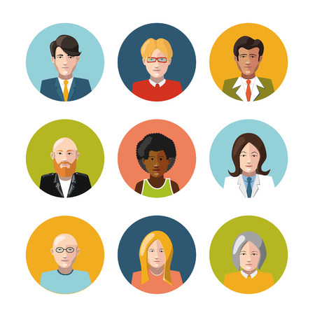 Set of nine different coloutful user interface avatar flat icons