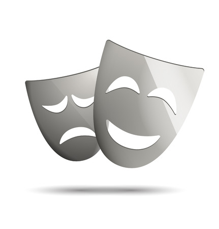 theatre masks: Theatre masks of drama and comedy. Illustration