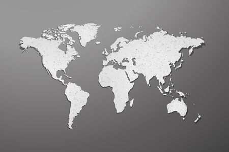 World map with paper texture on gray background Vector