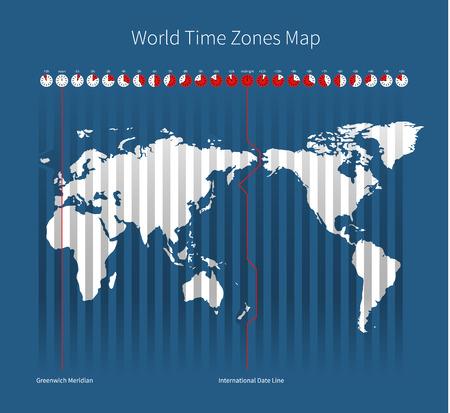 World Time Zones Map Illustration