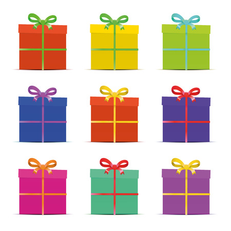 set of nine different colorful gift boxes for the new year, birthday, anniversary or sale isolated on white, verctor