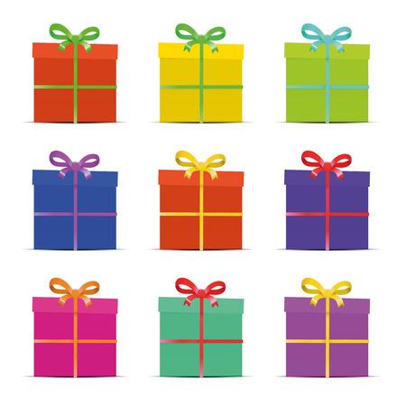 Conjunto de nueve diferentes cajas de regalo colorido para el año nuevo, cumpleaños, aniversario o venta aislado en blanco, verctor Foto de archivo - 33036244