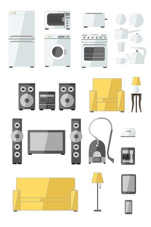 fridge lamp: Set of household appliances flat colourful icons with a washing machine stove fridge speaker iron microwave lamp phone sofa television and toaster