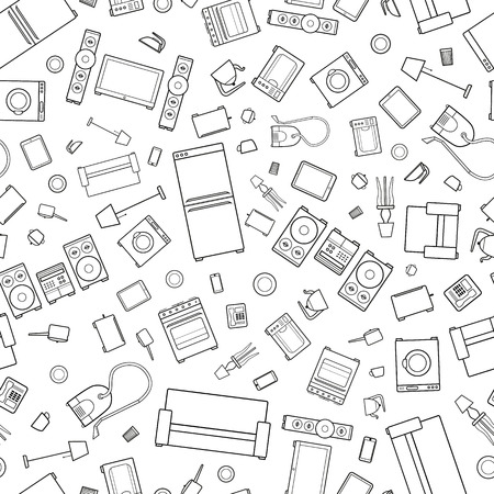 mess of outline icons of house appliance isolated on white seamless pattern Illustration