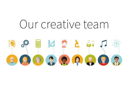 Our creative team. Flat people with signs their professions Vector