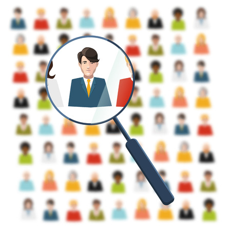 executive search: HR looking for worker in crowd Illustration