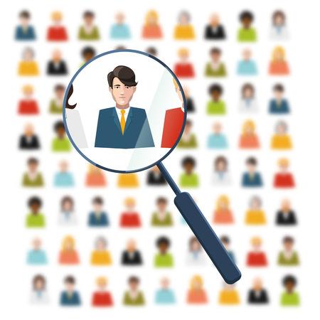 HR op zoek naar werknemer in menigte Stock Illustratie