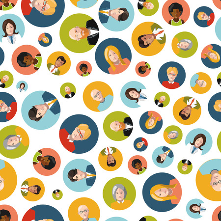 Different coloutful user interface avatar flat icons isolated seamles pattern Stock Illustratie