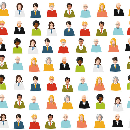 crowd of color flat people seamless pattern Vector