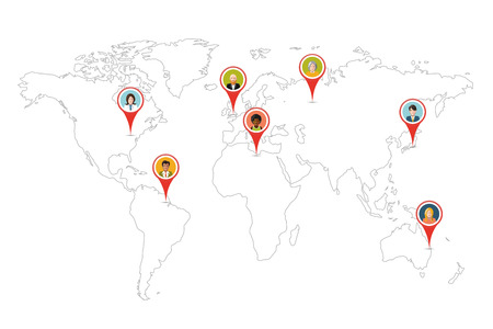 People pin gps location on world map outline isolated on white Vector