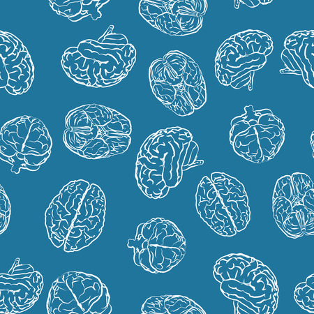 sides: brains from different sides on blue seamless pattern Illustration