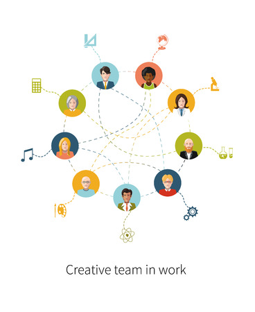 Creative team in work, people avatars with signs their professions