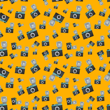 Lomography film camera on orange background seamless pattern Illustration