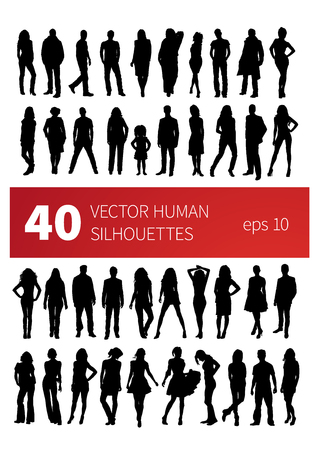 silhouettes of people in various poses isolated on white Vector