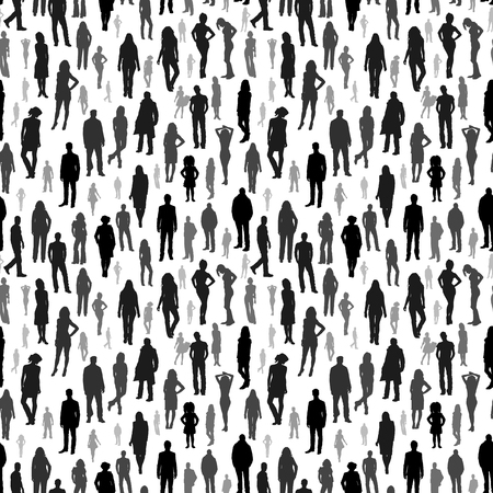 Large group of people. vector seamless pattern  イラスト・ベクター素材
