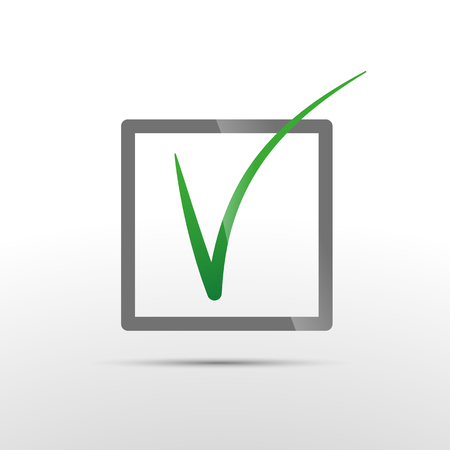 passed: Green vector check mark in box conceptual icon of confirmation or passed voting
