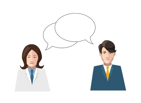talkative: dialogue man and woman flat illustration on white