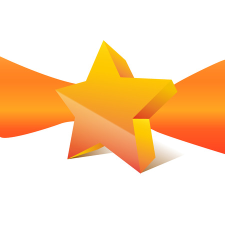 Vector orange star with ribbon on background Vector